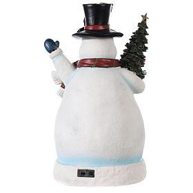 Pupazzo di neve Natalizio area pattinaggio e treno 45x20x25 cm s5