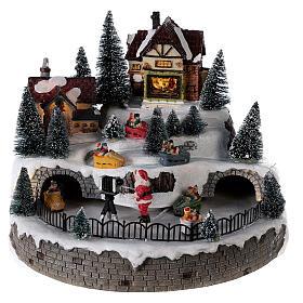 Village avec Père Noël musique et lumières 25x25 cm s1