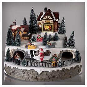 Village avec Père Noël musique et lumières 25x25 cm s2