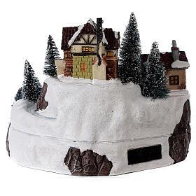 Village avec Père Noël musique et lumières 25x25 cm s5