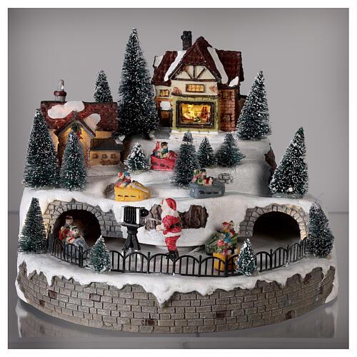Village avec Père Noël musique et lumières 25x25 cm 2