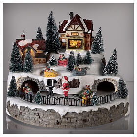 Lighted Christmas village with Santa Claus music 25x25 cm s2