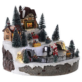 Lighted Christmas village with Santa Claus music 25x25 cm s4
