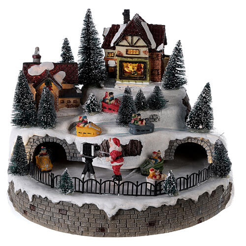 Lighted Christmas village with Santa Claus music 25x25 cm 1