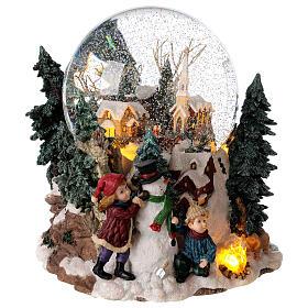 Snow globe winter village music lights 25x20x25 cm s5