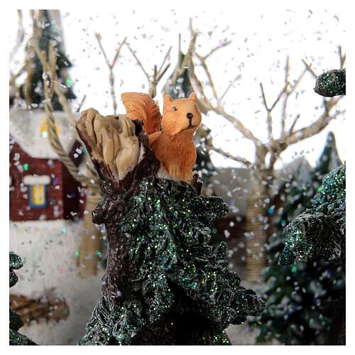 Boule à neige paysage hivernal boîte musicale lumières 25x20x25 cm 4