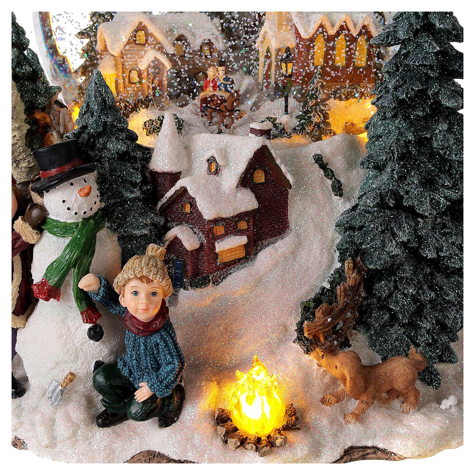 Sfera di vetro neve paesaggio invernale carillon luci 25x20x25 cm 3
