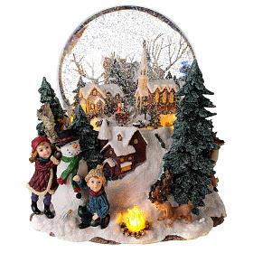Sfera di vetro neve paesaggio invernale carillon luci 25x20x25 cm s1