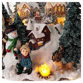 Sfera di vetro neve paesaggio invernale carillon luci 25x20x25 cm s2