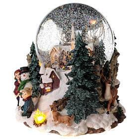 Sfera di vetro neve paesaggio invernale carillon luci 25x20x25 cm s3
