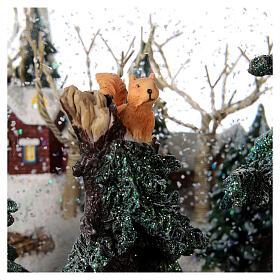 Sfera di vetro neve paesaggio invernale carillon luci 25x20x25 cm s4