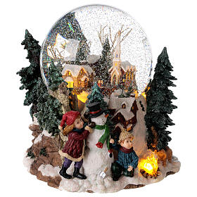 Sfera di vetro neve paesaggio invernale carillon luci 25x20x25 cm s5