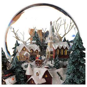 Sfera di vetro neve paesaggio invernale carillon luci 25x20x25 cm s6