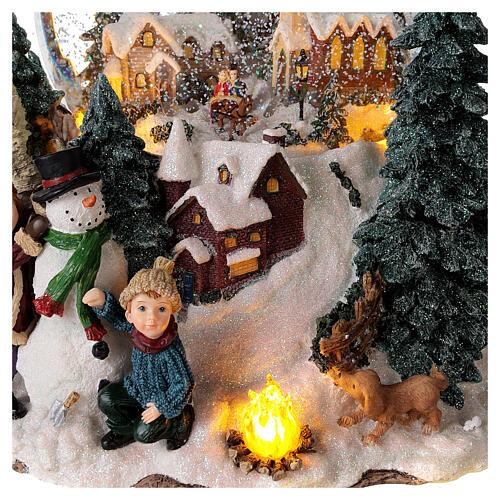 Sfera di vetro neve paesaggio invernale carillon luci 25x20x25 cm 2