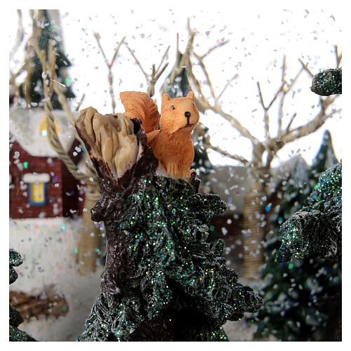 Sfera di vetro neve paesaggio invernale carillon luci 25x20x25 cm 4