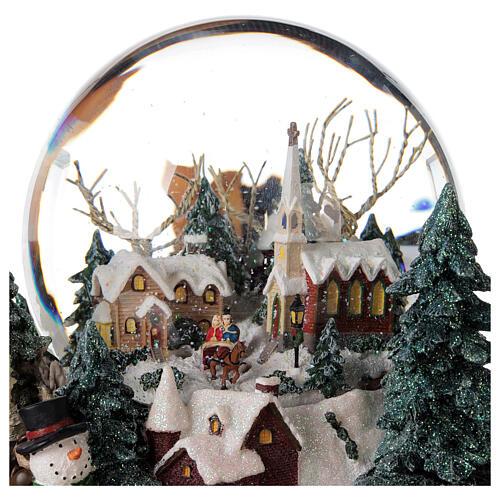 Sfera di vetro neve paesaggio invernale carillon luci 25x20x25 cm 6