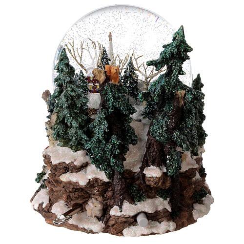 Sfera di vetro neve paesaggio invernale carillon luci 25x20x25 cm 7