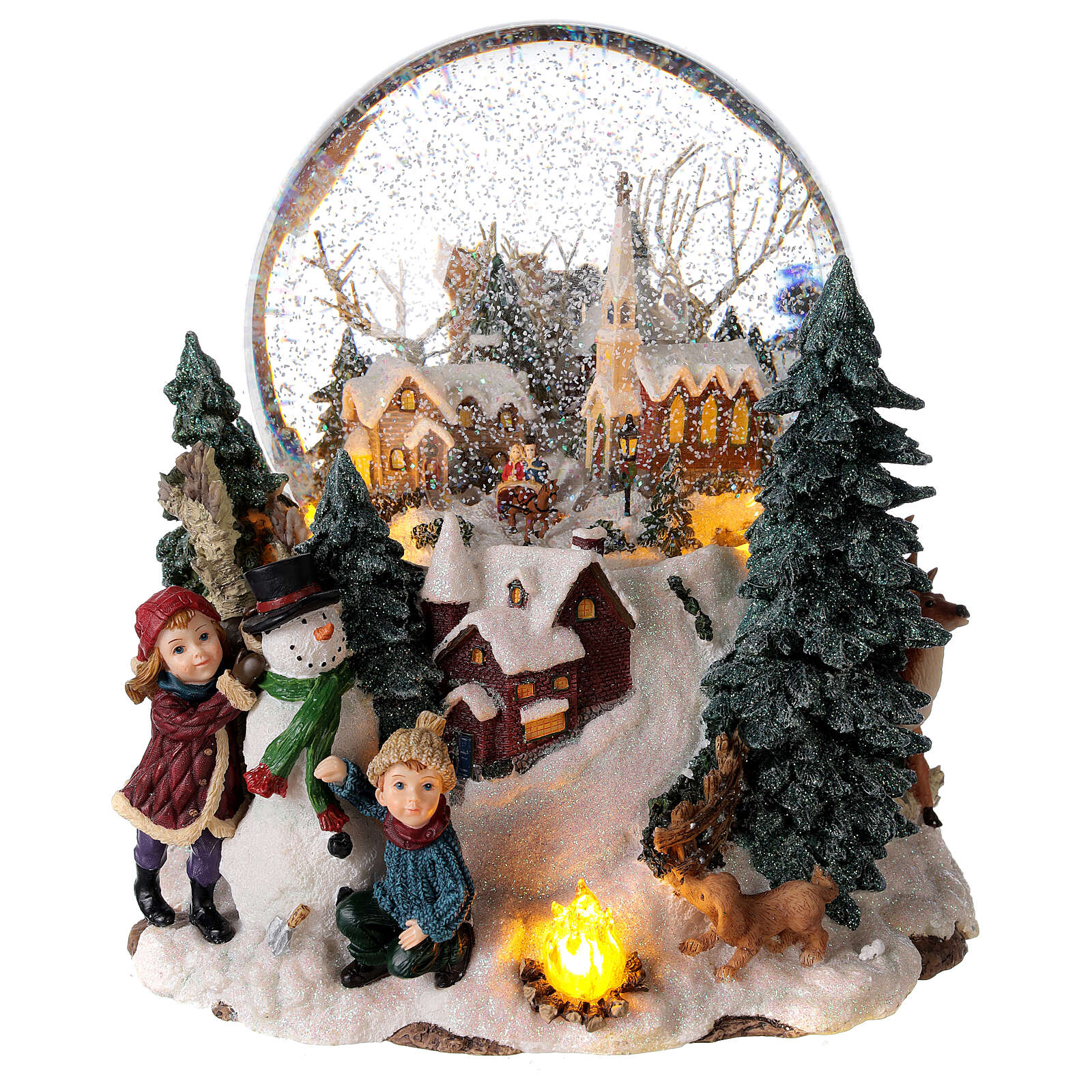 Snow globe winter village music lights 25x20x25 cm 3