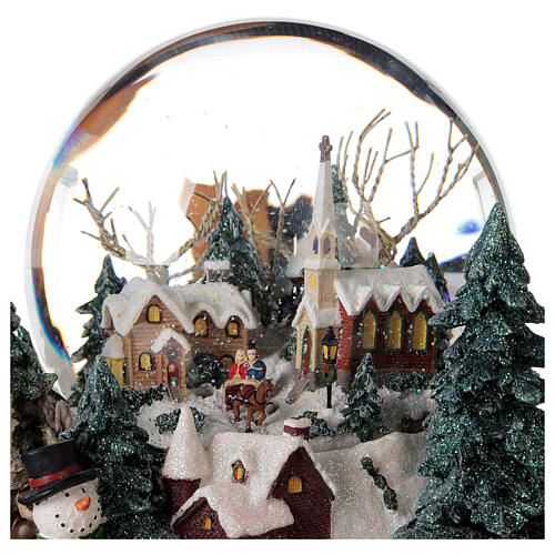 Snow globe winter village music lights 25x20x25 cm 6