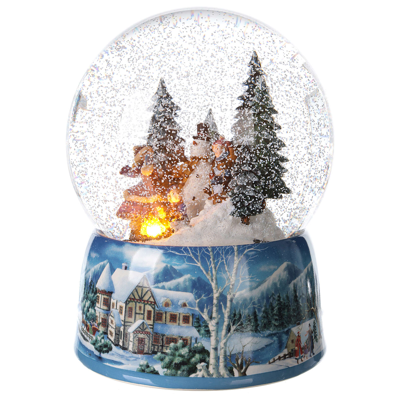 Christmas snow globe snowman children music 20x15x15 cm 3