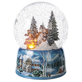 Christmas snow globe snowman children music 20x15x15 cm s3