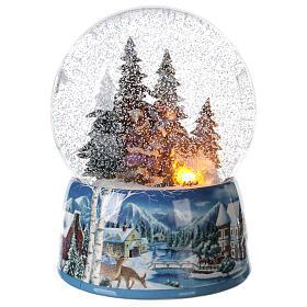 Christmas snow globe snowman children music 20x15x15 cm s5