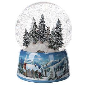 Christmas snow globe snowman children music 20x15x15 cm s6