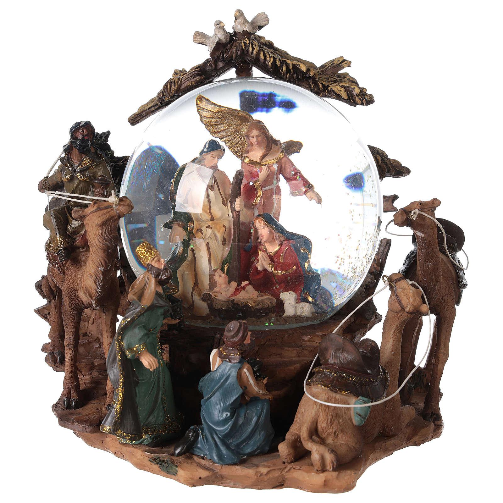Nativity snow globe angel music Silent Night 20x20x15 cm 3