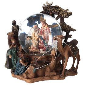 Nativity snow globe angel music Silent Night 20x20x15 cm s3