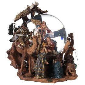 Nativity snow globe angel music Silent Night 20x20x15 cm s5