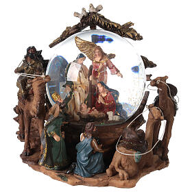 Nativity snow globe angel music Silent Night 20x20x15 cm s1