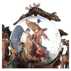 Nativity snow globe angel music Silent Night 20x20x15 cm s2