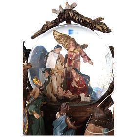 Nativity snow globe angel music Silent Night 20x20x15 cm s6