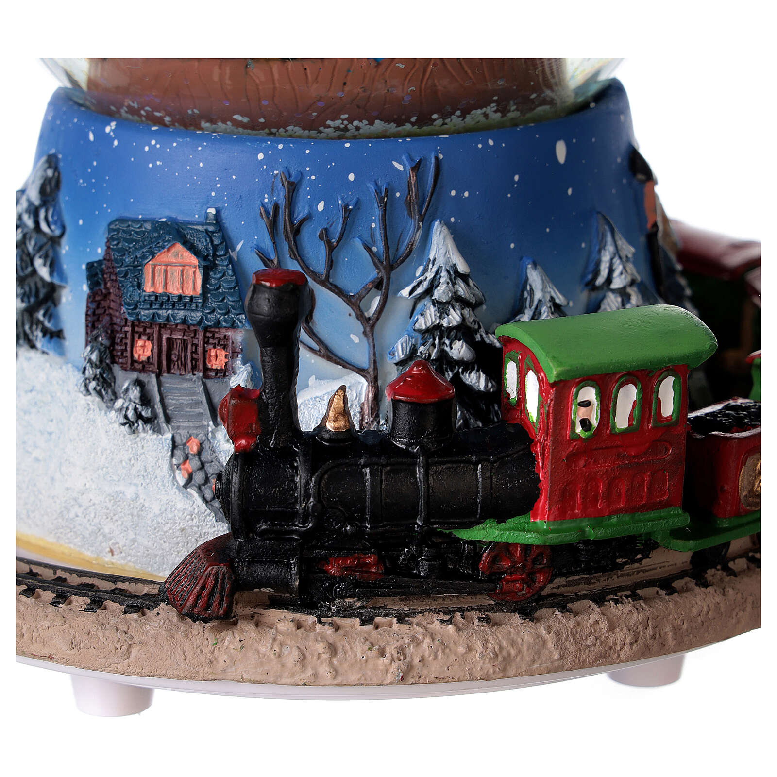 Christmas tree snow globe train music 15x15 cm 3