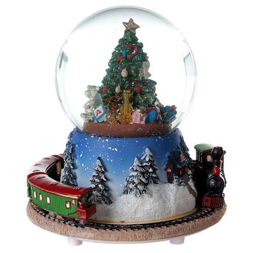 Christmas tree snow globe train music 15x15 cm 5