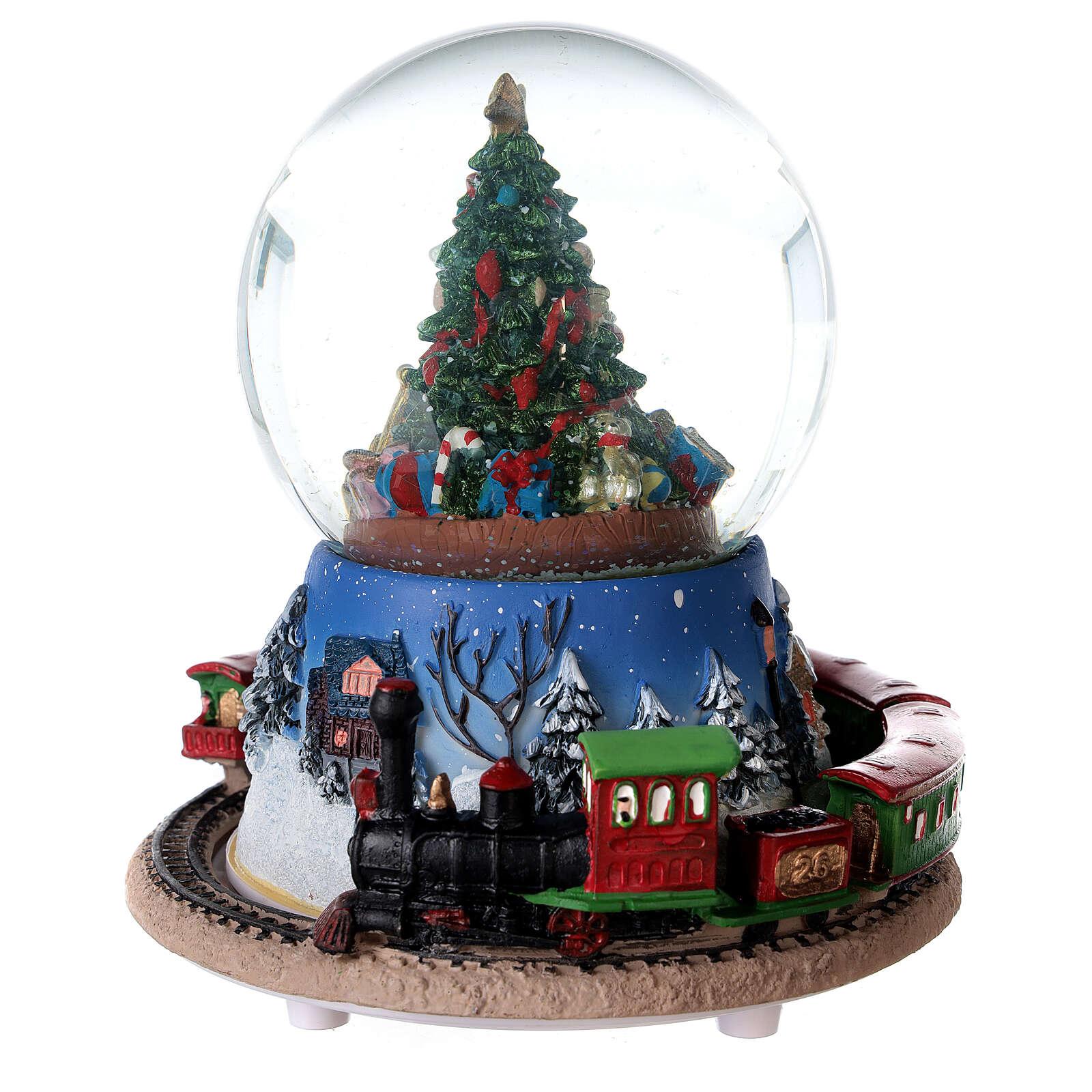 Boîte à musique train boule à neige Noël 15x15 cm 3