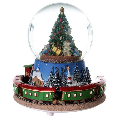 Boîte à musique train boule à neige Noël 15x15 cm 7