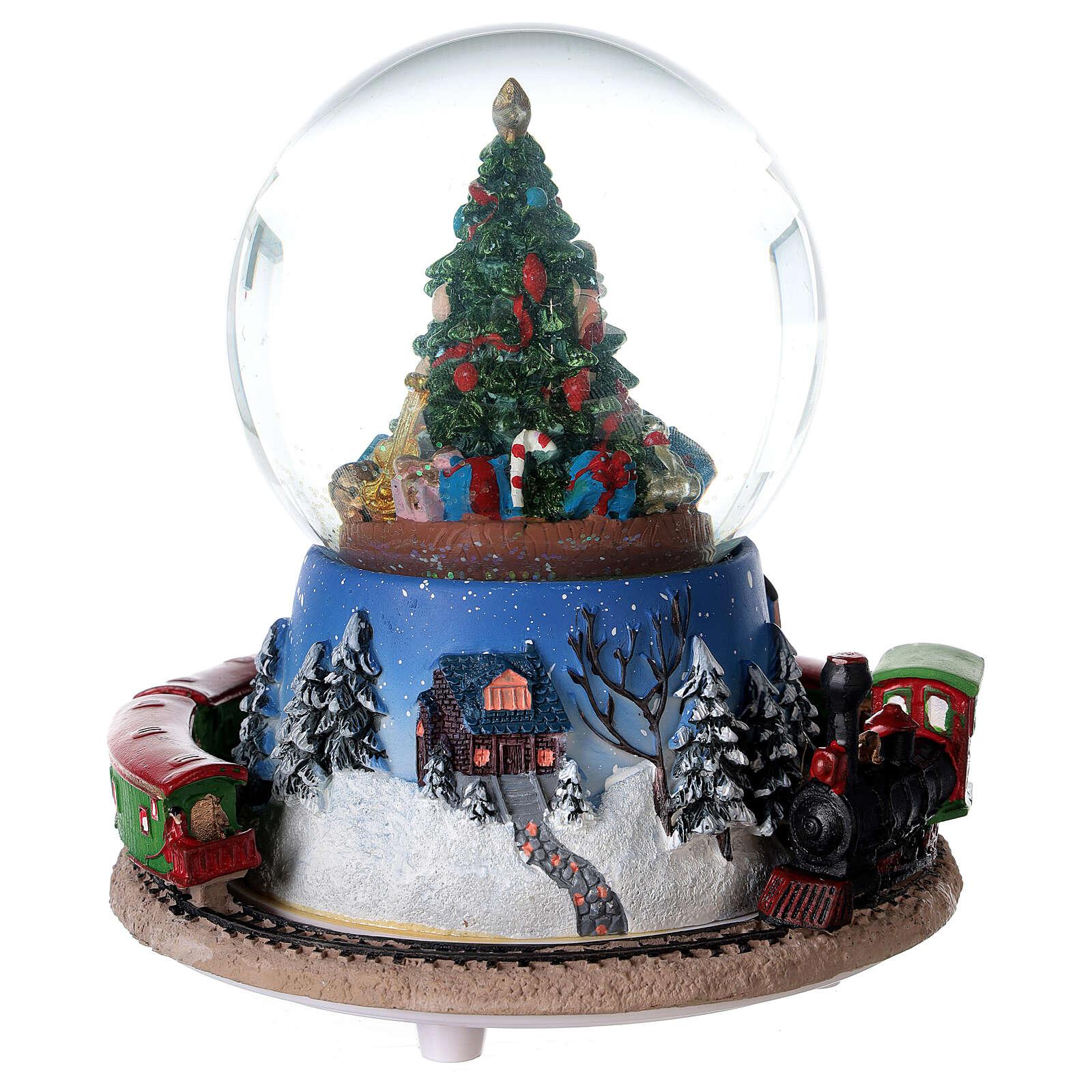 Carillon trenino palla vetro neve Natale 15x15 cm 3