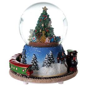 Christmas tree snow globe train music 15x15 cm s5