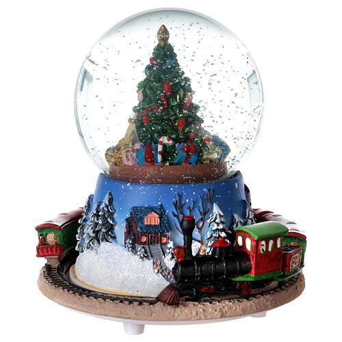 Christmas tree snow globe train music 15x15 cm 2