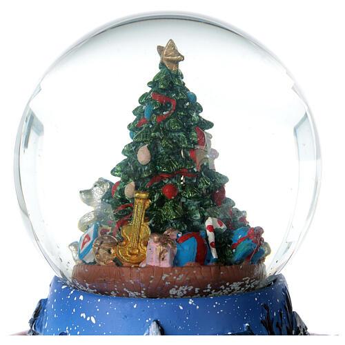 Christmas tree snow globe train music 15x15 cm 4
