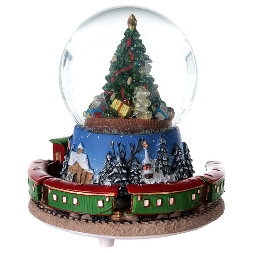 Christmas tree snow globe train music 15x15 cm 7