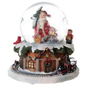 Boule à neige verre Père Noël train boîte musicale 15x15x15 cm s1