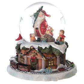 Boule à neige verre Père Noël train boîte musicale 15x15x15 cm s3