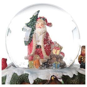 Boule à neige verre Père Noël train boîte musicale 15x15x15 cm s4