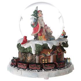 Boule à neige verre Père Noël train boîte musicale 15x15x15 cm s5
