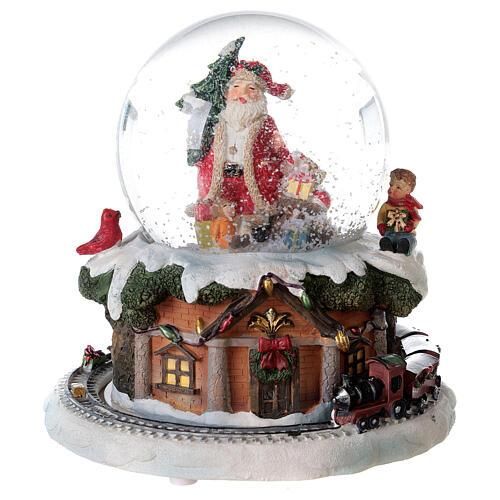 Boule à neige verre Père Noël train boîte musicale 15x15x15 cm 1