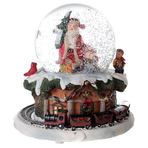 Boule à neige verre Père Noël train boîte musicale 15x15x15 cm 2