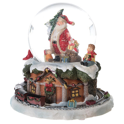 Boule à neige verre Père Noël train boîte musicale 15x15x15 cm 3