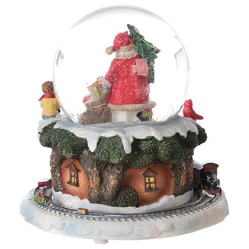 Boule à neige verre Père Noël train boîte musicale 15x15x15 cm 6